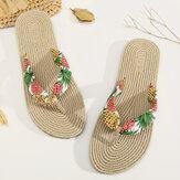 Kadın klip ayak çiçek Masaj tabanı Plaj daire Sandaletler