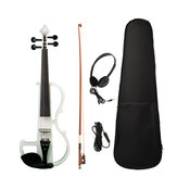 NAOMI Full Size 4/4 Solid Wood Electronic Silent Violin with Ebony Fittings, Carrying Case, Audio Earphone, Cable, Bow