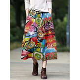 Vintage Ethnic Style Print Cotton Elastic Waist Casual Loose Maxi Skirts with Pockets