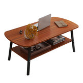 Double Layers Coffee Table Modern Simple Laptop Desk Small Square Table Writing Study Table Bookshelf Storage Rack