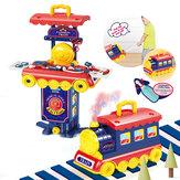2 в 1 мульти-стиль кухня приготовления игры и портативный маленький поезд обучающий набор игрушки для детей подарок