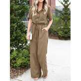 Women Button Front Camp Collar Cargo Style Short Sleeve Jumpsuits With Pocket