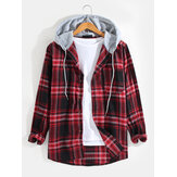 Mens Plaid Patchwork Hooded Chest Pocket Long Sleeve Vintage Shirts