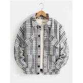 Mens Plaid Button Up Warme Wolljacke mit langen Ärmeln