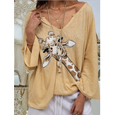 Женщины Жираф с принтом V-образным вырезом с длинным рукавом Повседневная свободная блузка