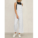 Casual Polka Dot Adjustable Strap Loose Wide Leg Jumpsuit with Pockets