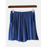 Solid Color High Waist Pocket Wide Leg Casual Shorts