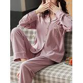 女性のコットンリブ無地襟襟長袖シャツ弾性ウエストホームパジャマセット