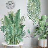 Grüne Pflanzen Blätter DIY Wandaufkleber Hintergrund abnehmbar für Schlafzimmer Küche Kinderzimmer Dekorationen