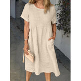 Women Solid Color Round Neck Side Pocket Short Sleeve Daily Casual Midi Dress