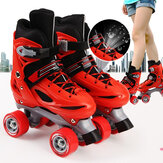 Kids Adjustable Roller Skates Double Line Skates For Children Two Line Skating Shoes With PVC 4 Wheels