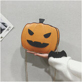 Women Patchwork Chains Halloween Pumpkin Bag Crossbody Bag