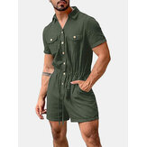 Heren katoenen effen kleur Multi Pocket Casual korte mouw shorts Jumpsuits