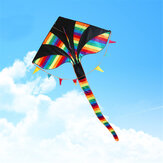 1.5M 59-Inch Colorful Triangle Kite Rainbow Kite Outdoor Funny Sports Flying Kites For Children Kids