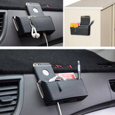 Two Deck Design Car Air Vent Storage Box Organizer Catcher Box Phone Holder Black