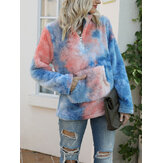 Women Tie-Dye Stand Collar Fluffy Fleece Thick Sweatshirt With Kangaroo Pocket