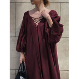 Women Solid Color V-Neck Tie Bubble Sleeves Pleated A-line Maxi Dresses