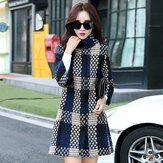 Women Cuasal Woollen Cashmere Lattice Coats