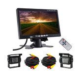 12-24V 2 Araba DVR Kablolu Arkadan Görünüm Yedekleme Kamera Sistem ve 7 İnç Monitör Kamyon RV Veriyolu için