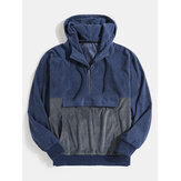 Mens Corduroy Contrast Stitching Half Zip Casual Hoodies With Pocket
