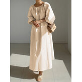 Women Solid Color Puff Sleeve Retro Style Pleated Maxi Dress
