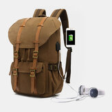 Men Genuine Leather And Canvas USB Charging Retro Travel Outdoor Large Capacity Backpack