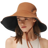 BENEUNDER UPF50+ UV-proof Casual Solid Color Double-sided Bucket Hat  Summer Lady Fisherman Hat Outdoor Sun Caps
