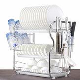 2/3Tier Dish Drying Rack Tableware Organizer Shelf Plated Iron Kitchen Washing Holder Basket With Utensil Holder