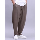 Mens Cotton Lightweight Breathable Wide Leg Loose Yoga Casual Pants
