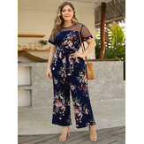Women Floral Print Wide Leg Jumpsuit