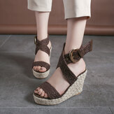 Women Wedges Heel Braided Espadrille Ankle Cross Buckle Strap Sandals