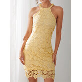 Yellow Halter Lace Hollow Out Bodycon Sleeveless Elegant Mini Dress