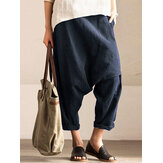 Women Pure Color Cotton Elastic Waist Harem Pants