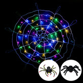 Halloween LED Spider Web String Light Outdoor Horror Party Props Lamp Cobweb Spooky Decor