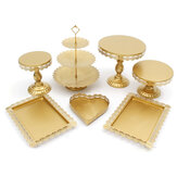 7Pcs White/Gold Amalfi Glass Top Cake Stand Round Metal Wedding Cupcake Tower Decorations