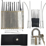 DANIU 12pcs Desbloqueo cerradura Pick Set + 10pcs Key Extractor Set + 1pc Candado de práctica transparente
