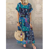 Bohemian Print Short Sleeve Summer Plus Size Dress