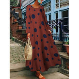 Polka Pot Print Long Sleeve Casual Loose Maxi Dress