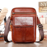 Men Genuine Leather Retro Business Multi-function Chest Bag Shoulder Bag Cross Body Bag