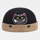 Banggood Design Men Contrast Color Cute Cat Pattern Brimless Beanie Landlord Cap Skull Cap