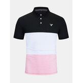Mens Business Patchwork Pulsanti Camicie da golf casual in cotone