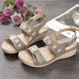LOSTISY Women Embroidery Hook Loop Adjustable Strap Open Toe Casual Daily Wedge Sandals