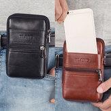 حقيبة كتف رجالية جلد طبيعي متعددة جيب عادية 6.3 بوصة هاتف حقيبة EDC حقيبة