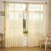 2 Panel Beige Uithollen Sheer Tulle Gordijnen Window Screening Ademend Slaapkamer Studie Home Decor