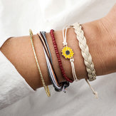 5 Pcs Bohemian Leather Bracelet Set