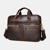 Men Genuine Leather Multi-pocket 14 Inch Laptop Bag Briefcase Business Handbag Crossbody Bag