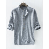 Mens 100% Cotton Button Striped Half Sleeve Breathable Casual Henley Shirts