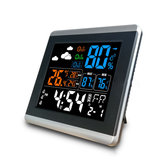 Loskii DC-005 Digital Wireless Colorful Screen Clock USB Backlit Weather Station Thermometer Hygrometer Alarm Clock Temperature Gauge with Calendar Vioce-Activated Three Clock Function