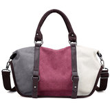 Women Quality Canvas Casual Color Block Large Capacity Handbag Shoulder Bag Crossbody Bag