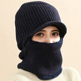 Unisex Wool Plus Thicken Plus Velvet Warm Windproof Ear Face Protection Outdoor Knitted Hat